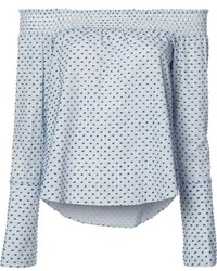 Derek Lam 10 Crosby Dots Print Off Shoulders Blouse