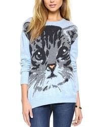 Light Blue Print Oversized Sweater