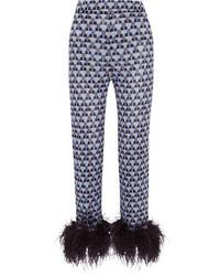 Prada Feather Trimmed Printed Crepe De Chine Straight Leg Pants Blue