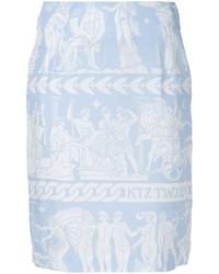 Light Blue Print Pencil Skirt
