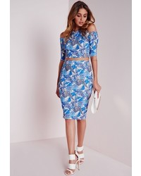 Missguided Leaf Print Midi Skirt Blue