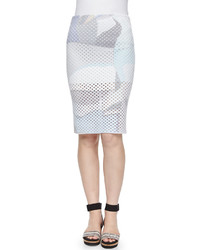 Kenzo Paper Print Perforated Pencil Skirt