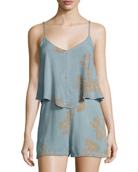 Bishop + Young Luna Palm Print Romper Light Blue