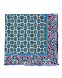 Edward Armah Oval Medallion Print Silk Pocket Square Light Blue