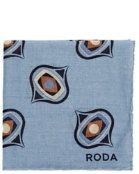 Roda Medallion Pocket Square Light Blue