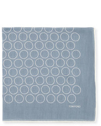 Tom Ford Open Circle Pocket Square Light Blue