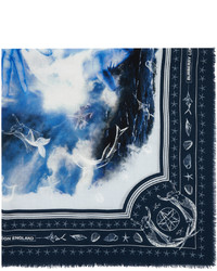 Burberry Navy Cashmere Large Sea Maiden Scarf
