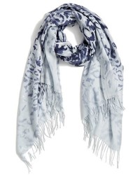 Nordstrom Washed Leopard Print Wool Cashmere Scarf