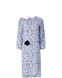 Marni Patterned Pom Pom Long Sleeved Dress