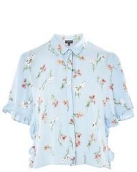Topshop Floral Print Frill Shirt