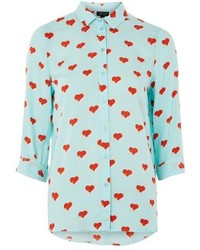 Topshop Love Heart Print Casual Shirt