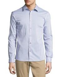Michael Kors Michl Kors Printed Slim Fit Stretch Shirt Blue