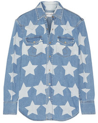 Saint Laurent Printed Denim Shirt Mid Denim