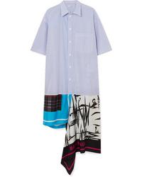 Balenciaga Asymmetric Patchwork Cotton Poplin And Silk Twill Dress