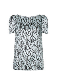 Light Blue Print Short Sleeve Blouse