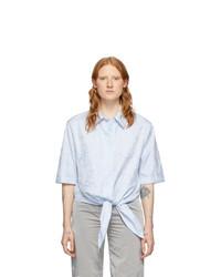 Off-White Blue Waves Knot Baseball Shirt
