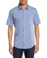 Zachary Prell Diamond Print Short Sleeve Sport Shirt