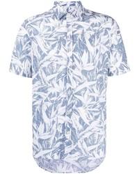 Canali Leaf Print Short Sleeved Shirt