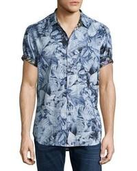 Robert Graham Masoor Leaf Print Short Sleeve Sport Shirt