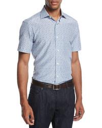 Ermenegildo Zegna Pixel Print Cotton Silk Short Sleeve Shirt Blueblack