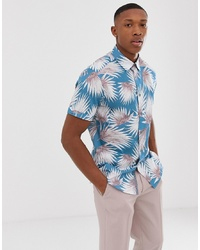Ted Baker Shirt With Palm Print In Blue