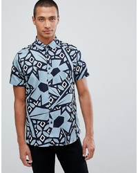 Ted Baker Short Sleeve Shirt In Blue With Abstract Print