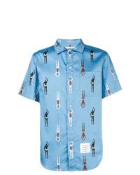 Thom Browne Swimmer Print Polo Collar Shirt