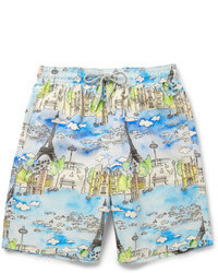 Light Blue Print Shorts
