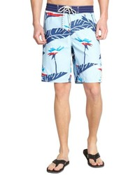 3rd & Army Light Blue Cotton Blend Koa Printed Board Shorts