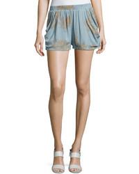 Luna print crepe shorts light blue medium 3733636