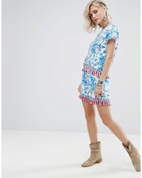 Shorts in floral print with tassel trim co ord medium 3717884