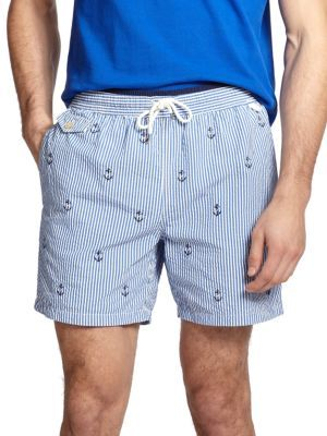 Men's Fashion › Shorts › Light Blue Print Shorts Polo Ralph Lauren Traveler  Anchor Print Swim Shorts ...