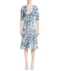 Michael Kors Michl Kors Floral Print Silk Fit Flare Dress