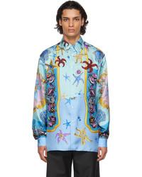 Versace Blue Silk Trsor De La Mer Shirt