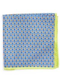 Light Blue Print Silk Pocket Square
