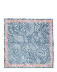 Dries Van Noten Blue And Pink Silk Foliage Pocket Square