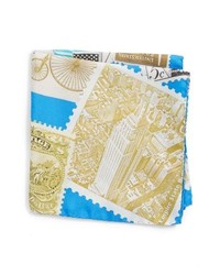 Eton New York Stamp Silk Pocket Square
