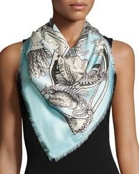 Gucci Chariot Tarot Print Silk Twill Scarf Blue