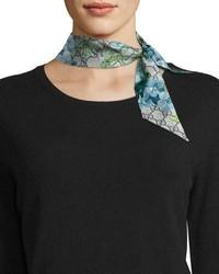 Gucci Gg Blooms Skinny Silk Scarf Blue
