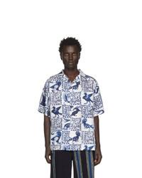 Loewe Blue And White William De Morgan Animal Print Short Sleeve Shirt