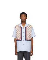 Gucci Blue Silk Bowling Shirt