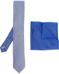 Canali Printed Tie And Handkerchief