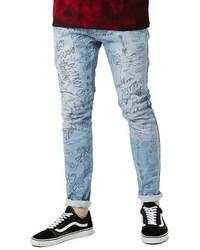 Light Blue Print Skinny Jeans