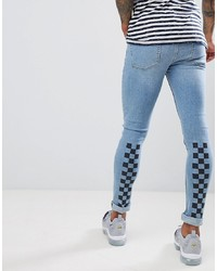 ASOS DESIGN Extreme Super Skinny Jeans In Light Wash With Checkerboard Print And Busted Knee