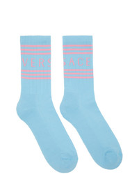 Versace Blue And Pink 1990s Logo Socks
