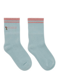 Gucci Blue And Pink Pong Socks