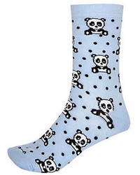 River Island Blue Panda Print Ankle Socks