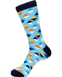 Jared Lang Diamond Print Cotton Blend Socks