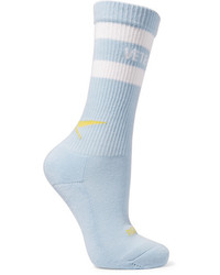 Vetements Reebok Intarsia Stretch Cotton Blend Socks Blue