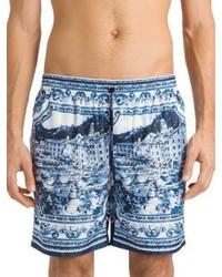 Dolce & Gabbana Allover Shore Print Swim Trunks